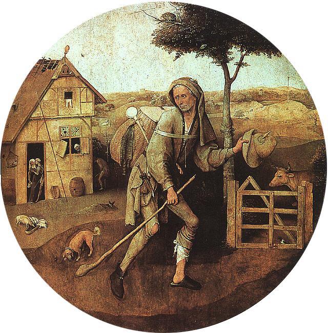 Hieronymus Bosch, The traveler, 1494. Oil on panel 71x71 cm. Museum Boymans-van Beuningen, Rotterdam