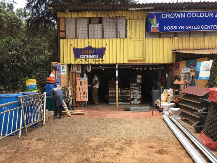HARDWARE STORE RUAKA: It is as simple as it looks, more container structure than a building, it is a hardware store on Limuru Road, in the area of Ruaka, Nairobi.